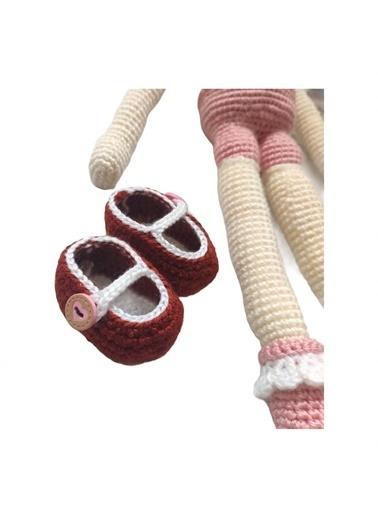 Quzucuk Kids Amigurumi Özel Tasarım Organik El Örgüsü Kız Bebek Oyuncak 49Cm Bordo